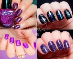 Маникюр в фиолетовом цвете с блестками