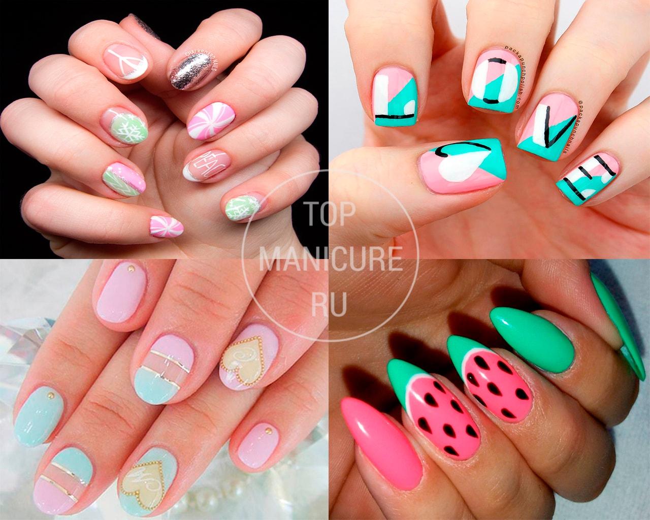 Мятный дизайн ногтей
