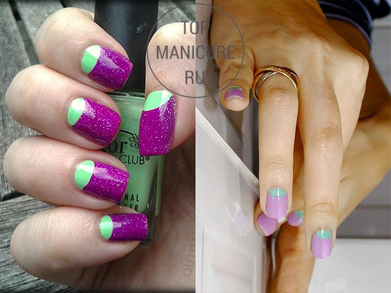Мятно-фиолетовый маникюр