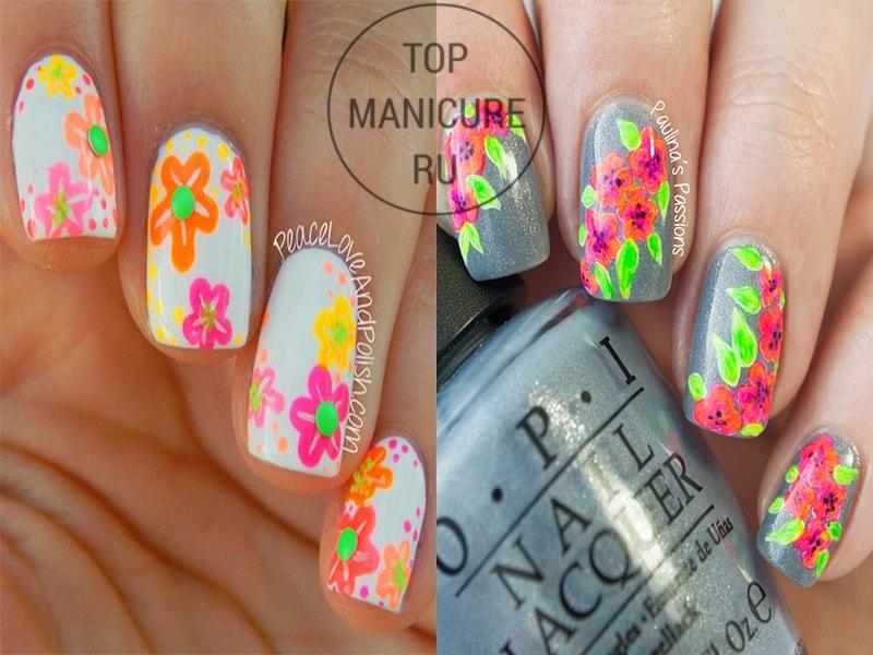 Неоновый маникюр с цветами