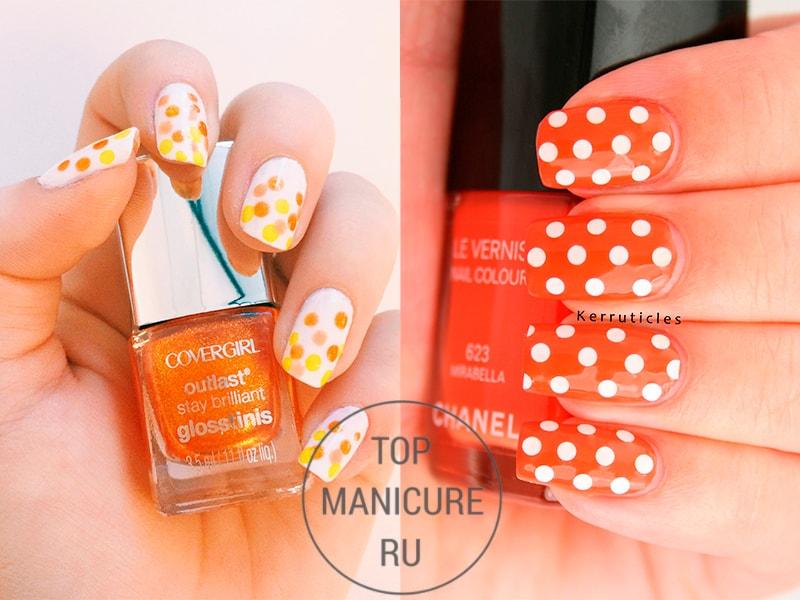 Оранжевые ногти в горошек