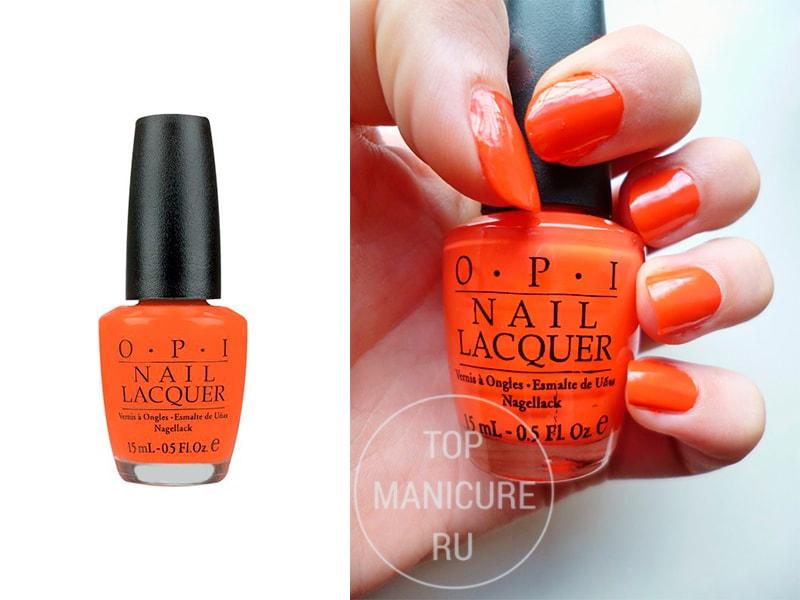 Оранжевый лак для ногтей OPI Atomic Orange