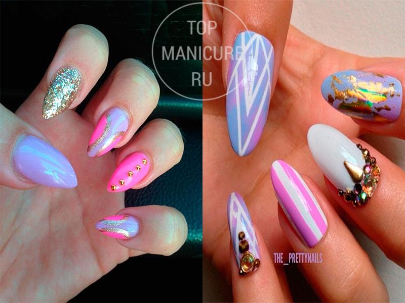 Острые сиреневые ногти с дизайном