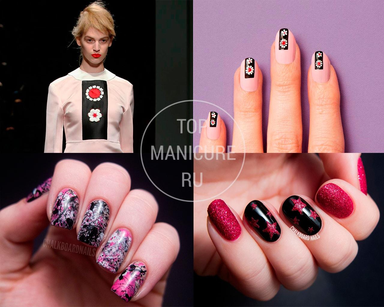 Розово-черные ногти с дизайном