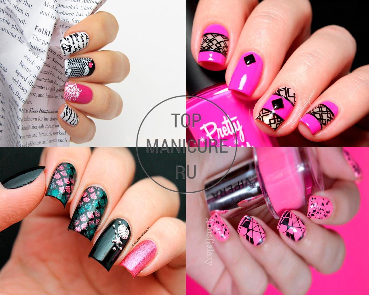Розово-черный маникюр со стемпингом