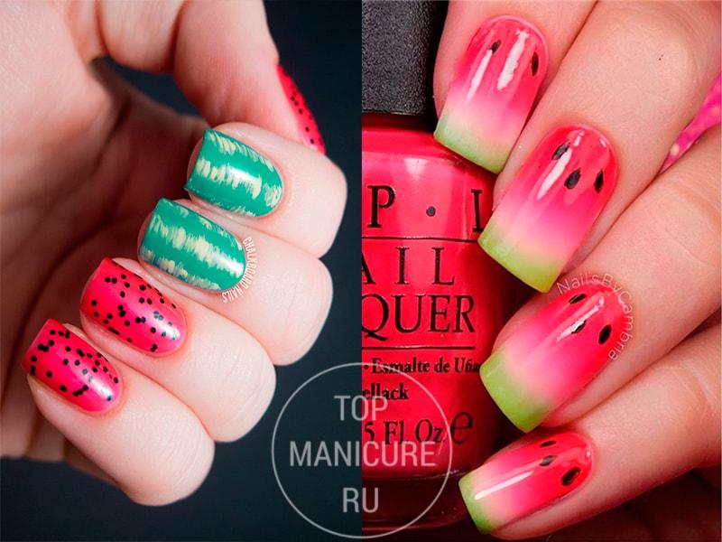Розово-зеленый маникюр арбуз