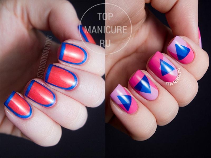 Сине-розовый маникюр