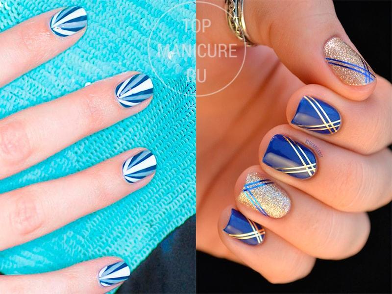 Синие ногти с полосками