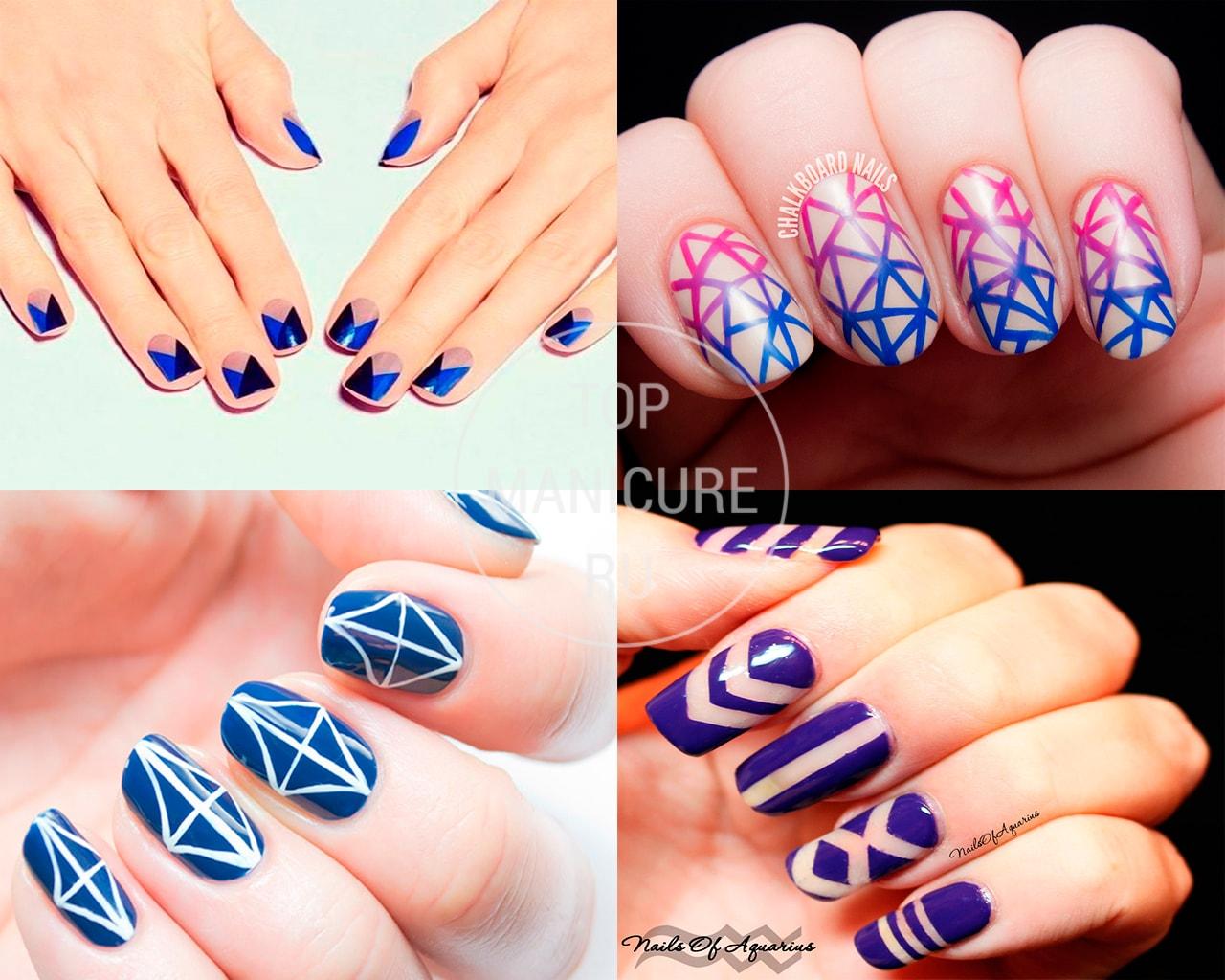 Синий геометрический маникюр