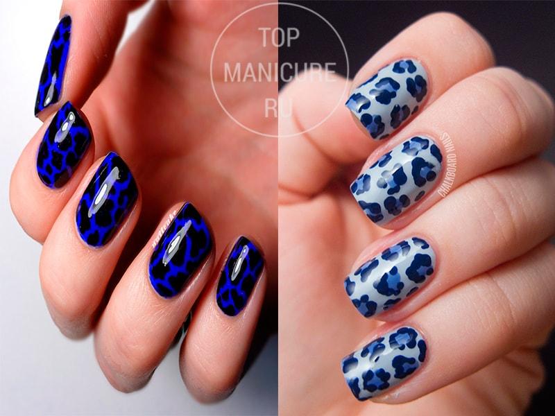 Синий леопардовый маникюр