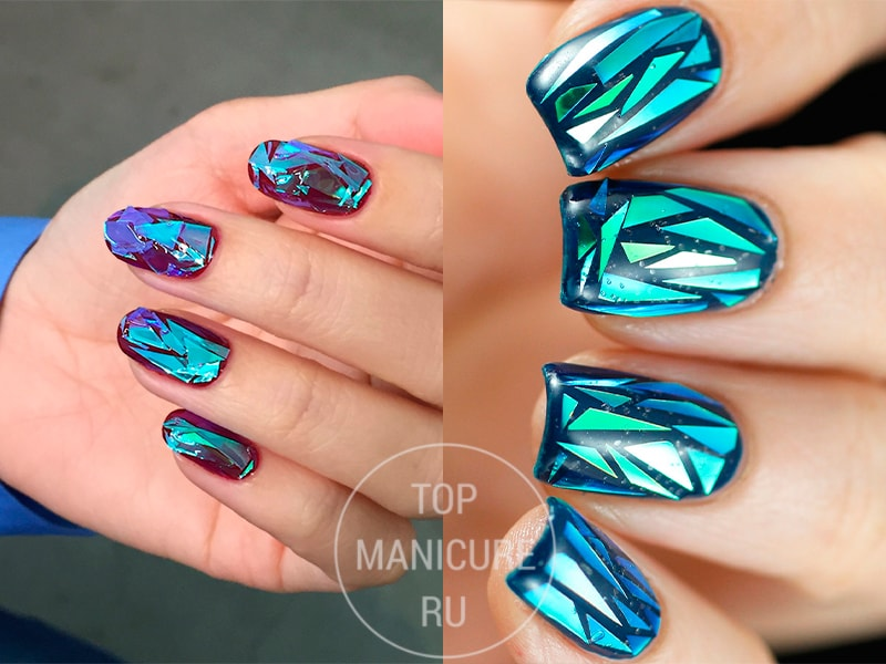 Синий стеклянный маникюр