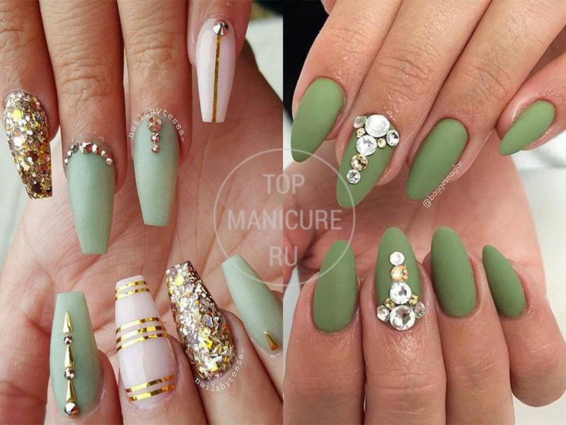 Светло-зеленые ногти со стразами
