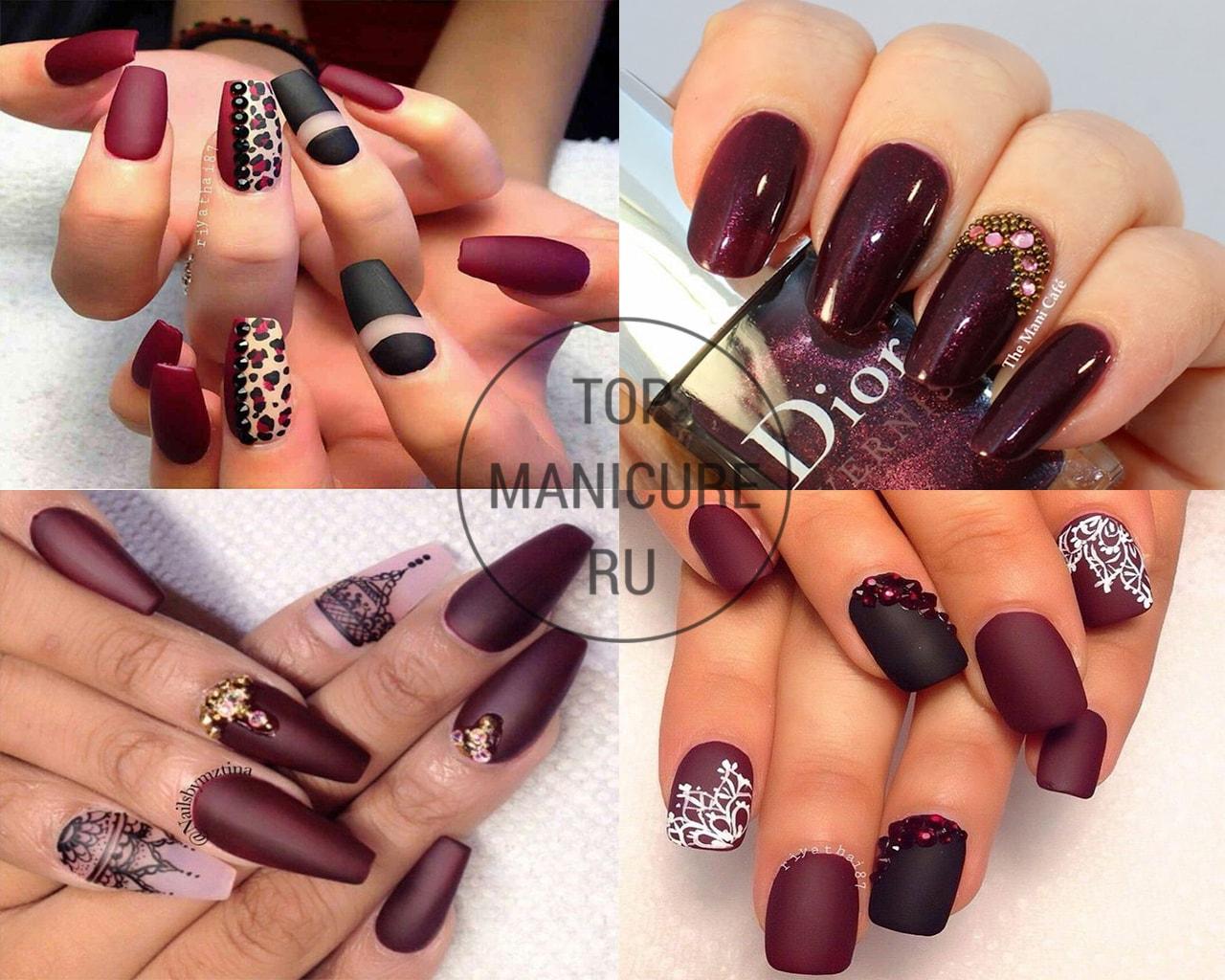 Темно-красные ногти с камнями