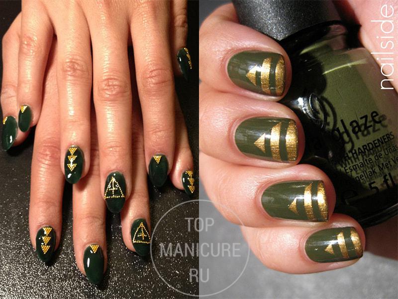 Темно-зеленый маникюр с золотом