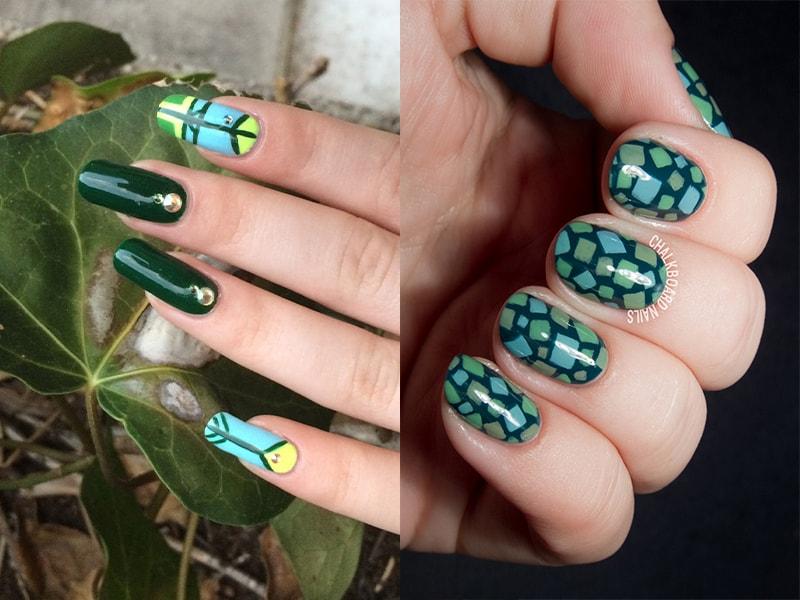 Зеленые ногти с геометрическим орнаментом