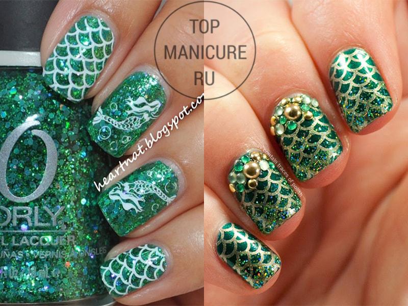 Зеленые ногти со стемпингом