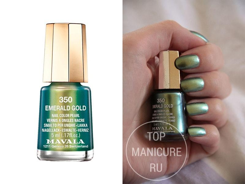 Зеленый лак для ногтей Mavala Emerald Gold
