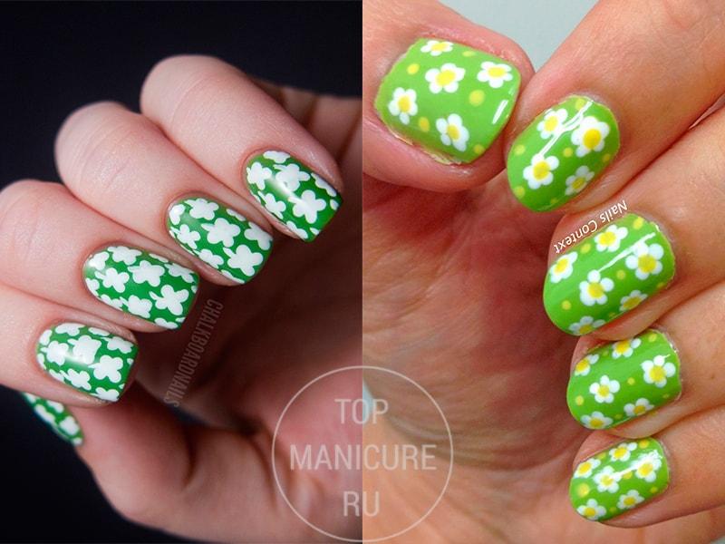 Зеленый маникюр с белыми цветами