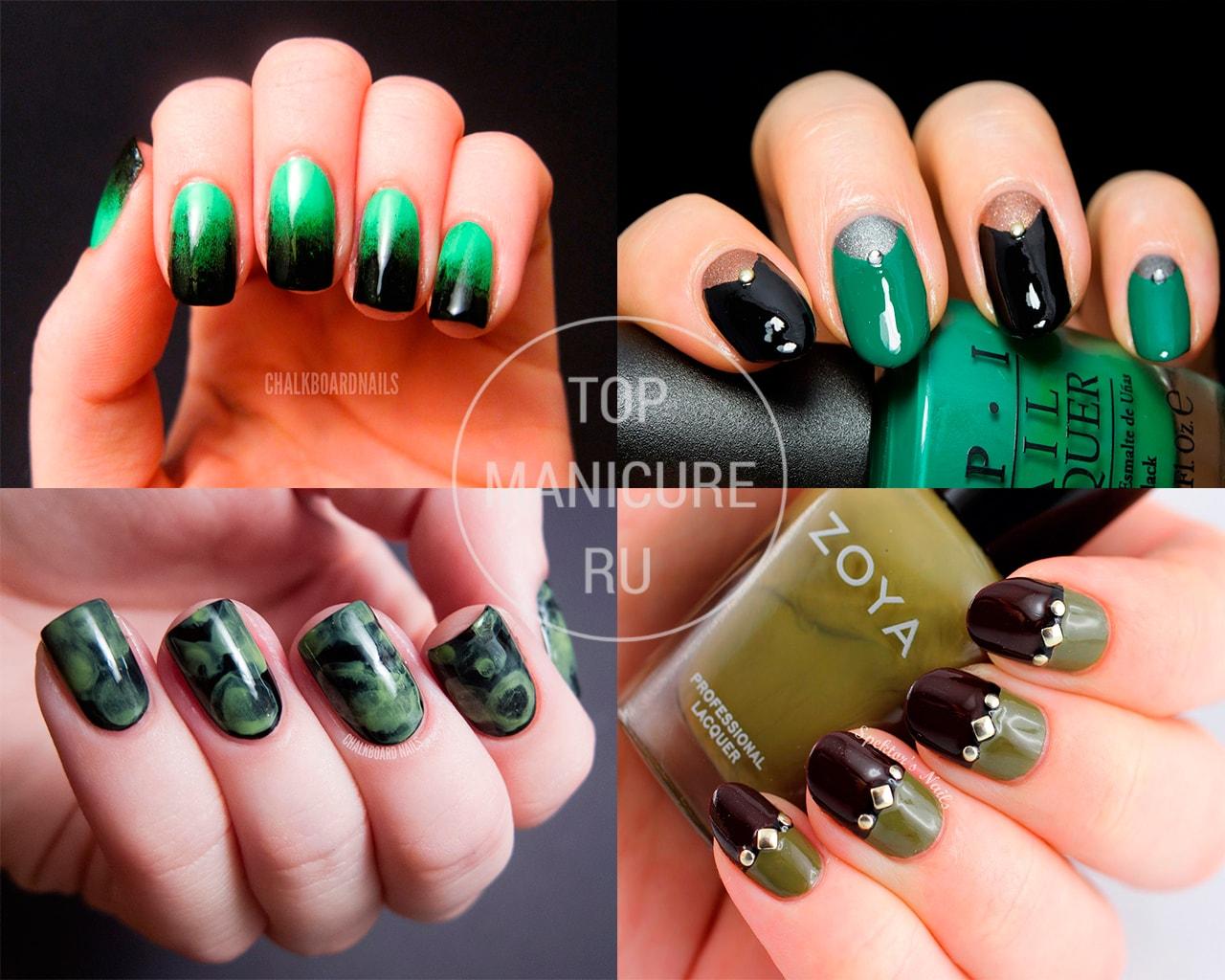 Зелено-черный маникюр