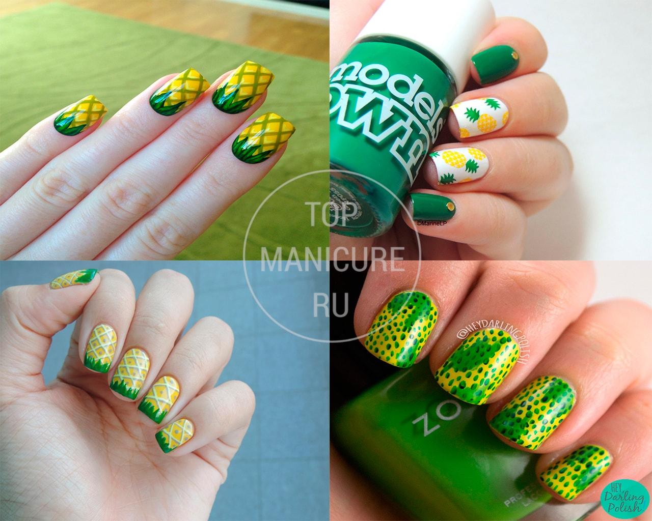 Желто-зеленый маникюр ананас