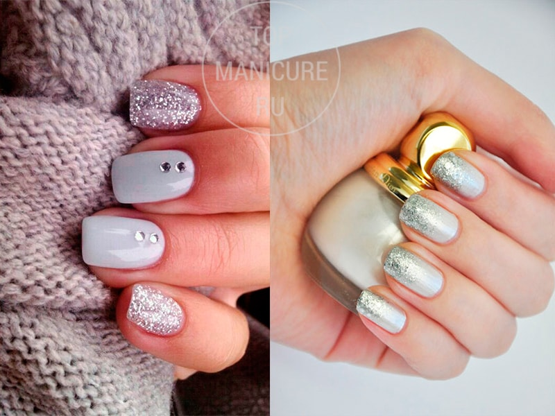 Белые ногти с серебристыми блестками