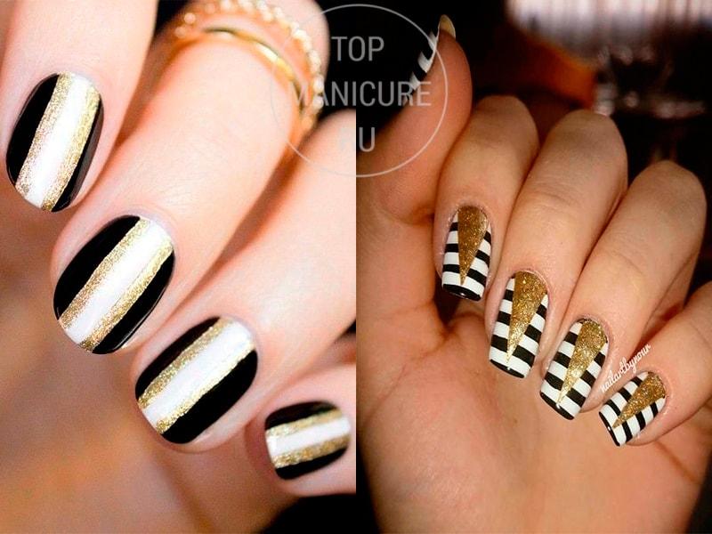 Черно-белые ногти с полосками и золотом