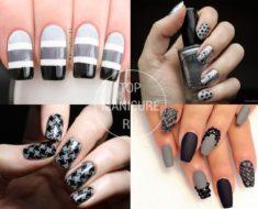 Черно-серый маникюр