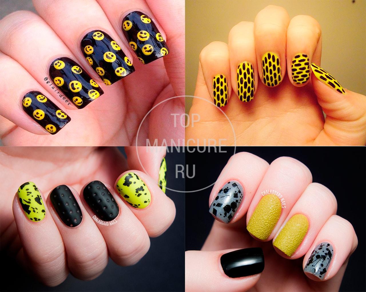 Черно-желтые ногти с дизайном