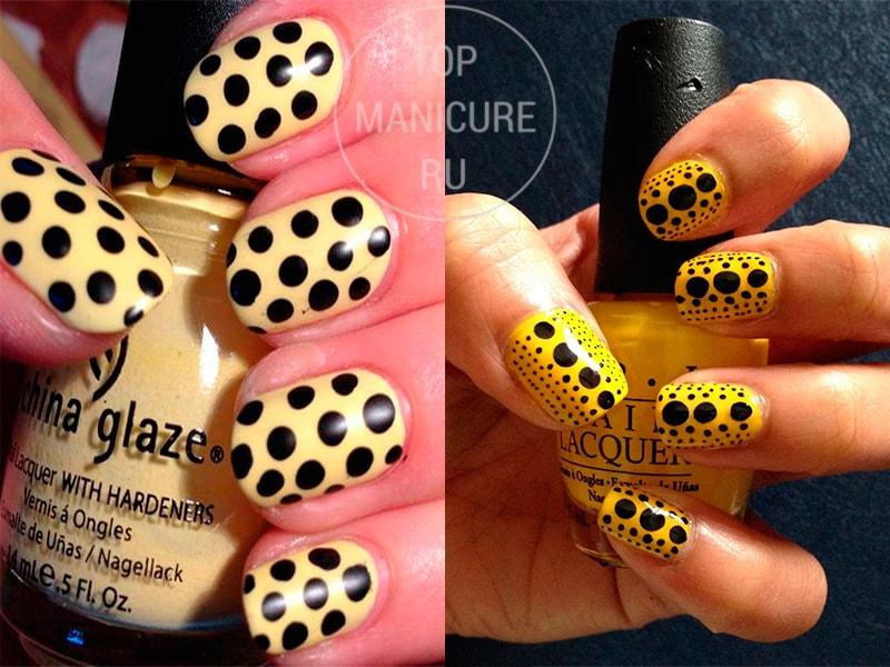 Черно-желтые ногти в горошек
