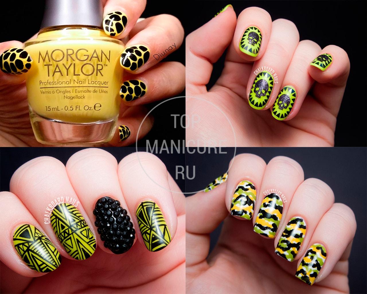 Черно-желтый маникюр с дизайном