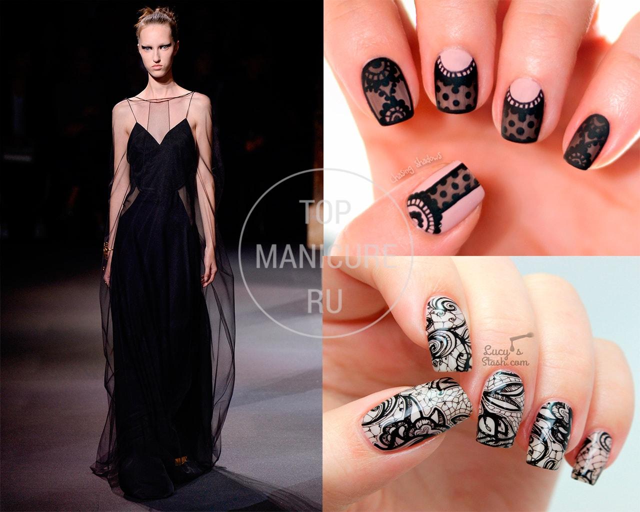 Черное платье какого цвета маникюра