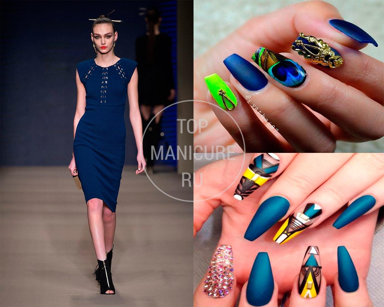 Дизайн ногтей под синее платье