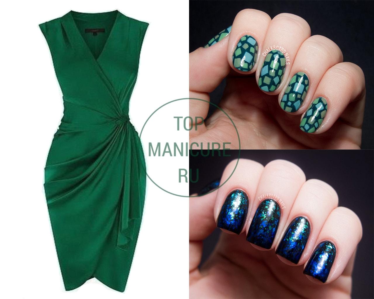 Дизайн ногтей под зеленое платье