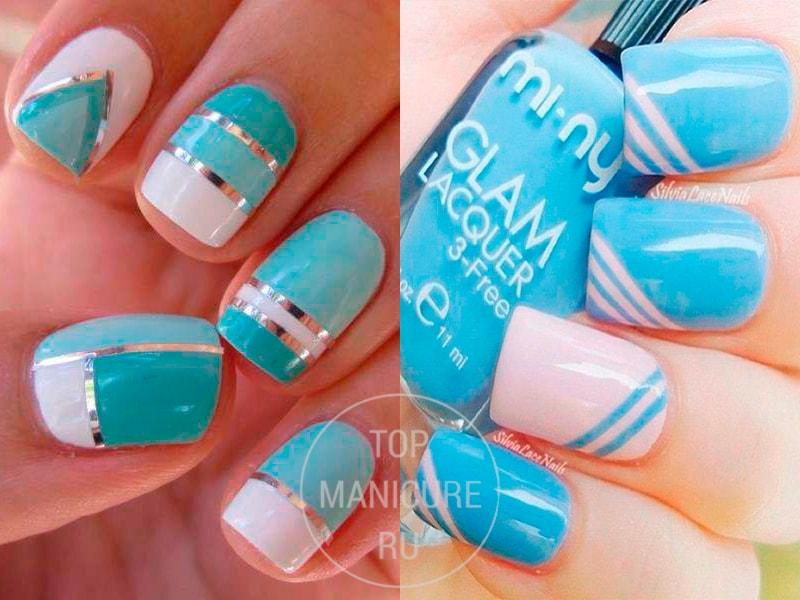 Голубые ногти с белыми полосками