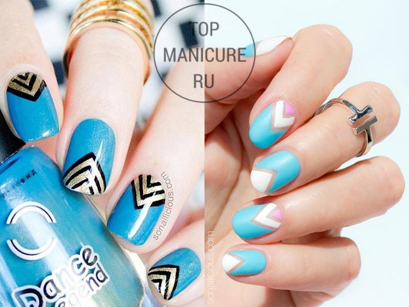 Голубые ногти с треугольниками