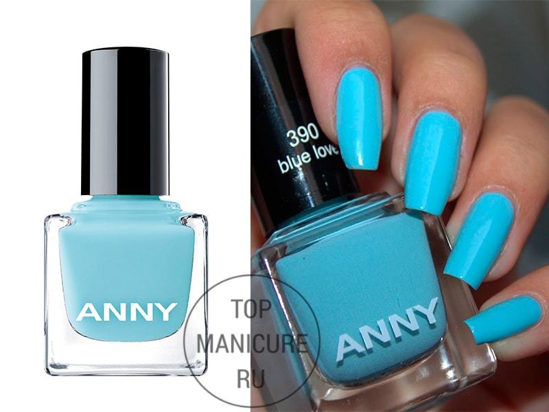 Голубой лак для ногтей anny blue love 390