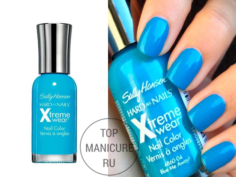 Голубой лак для ногтей sally hansen blue me away