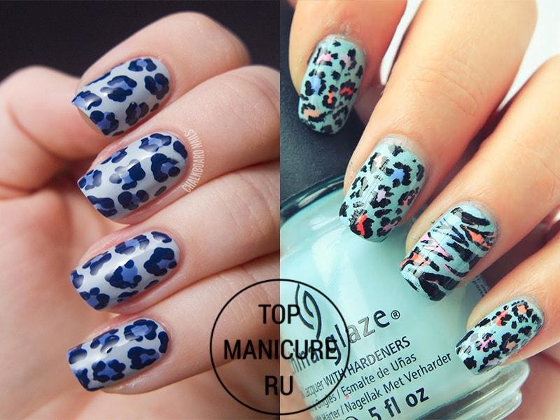 Голубой маникюр с леопардовыми пятнами
