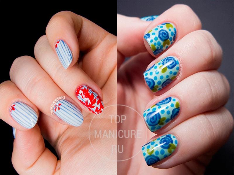 Голубой маникюр с цветами