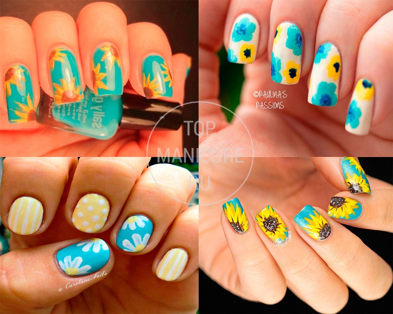 Голубой маникюр с желтыми цветами