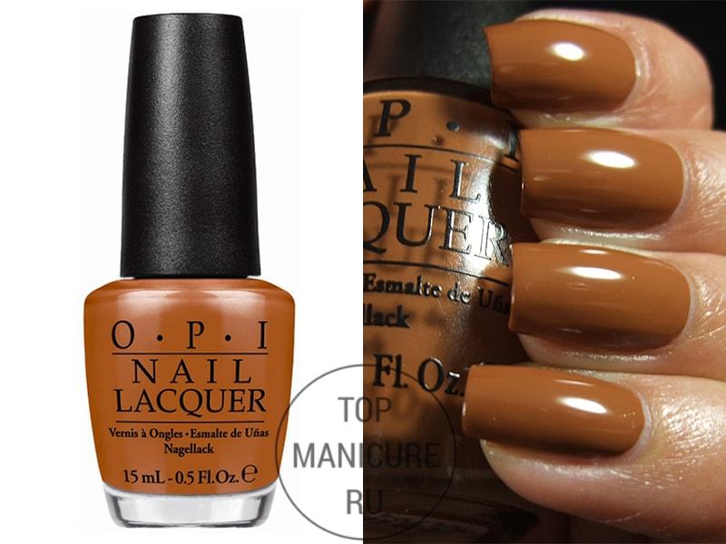 Коричневый лак для ногтей opi a piers to be tan