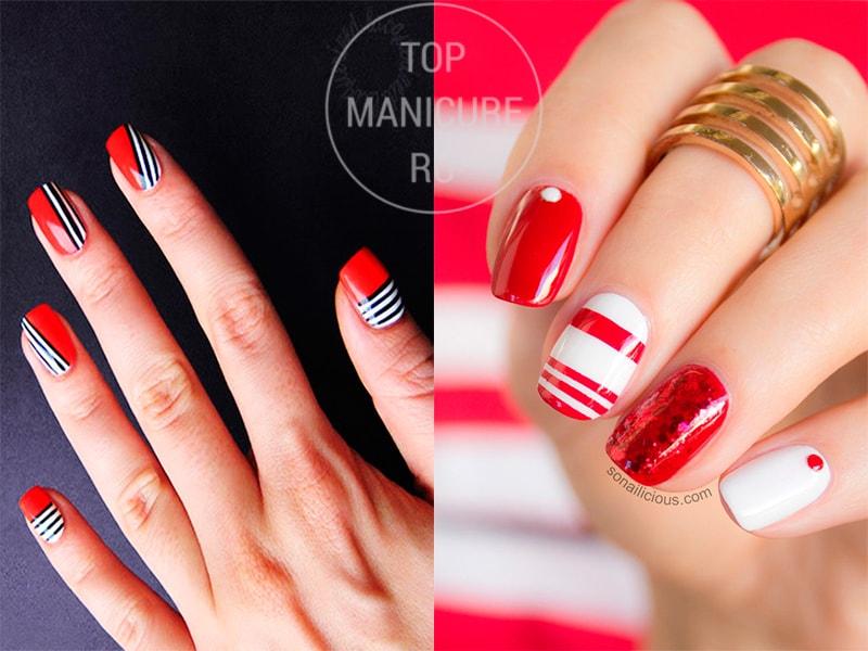 Красно-белые ногти с полосками