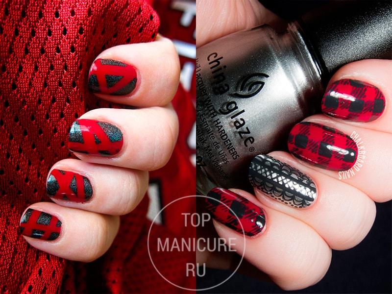 Красно-серый маникюр