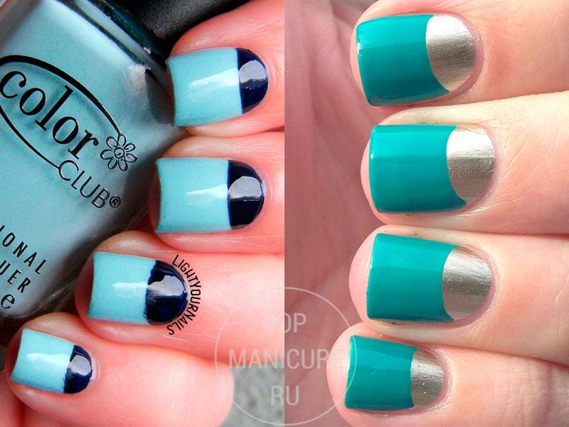 Лунный голубой маникюр на короткие ногти