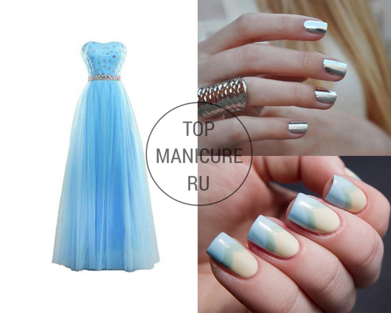 Маникюр под голубое платье