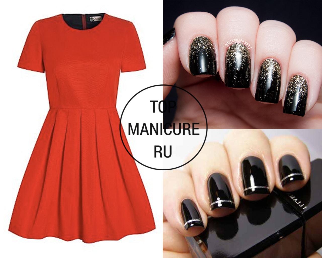 Черный маникюр под красное платье