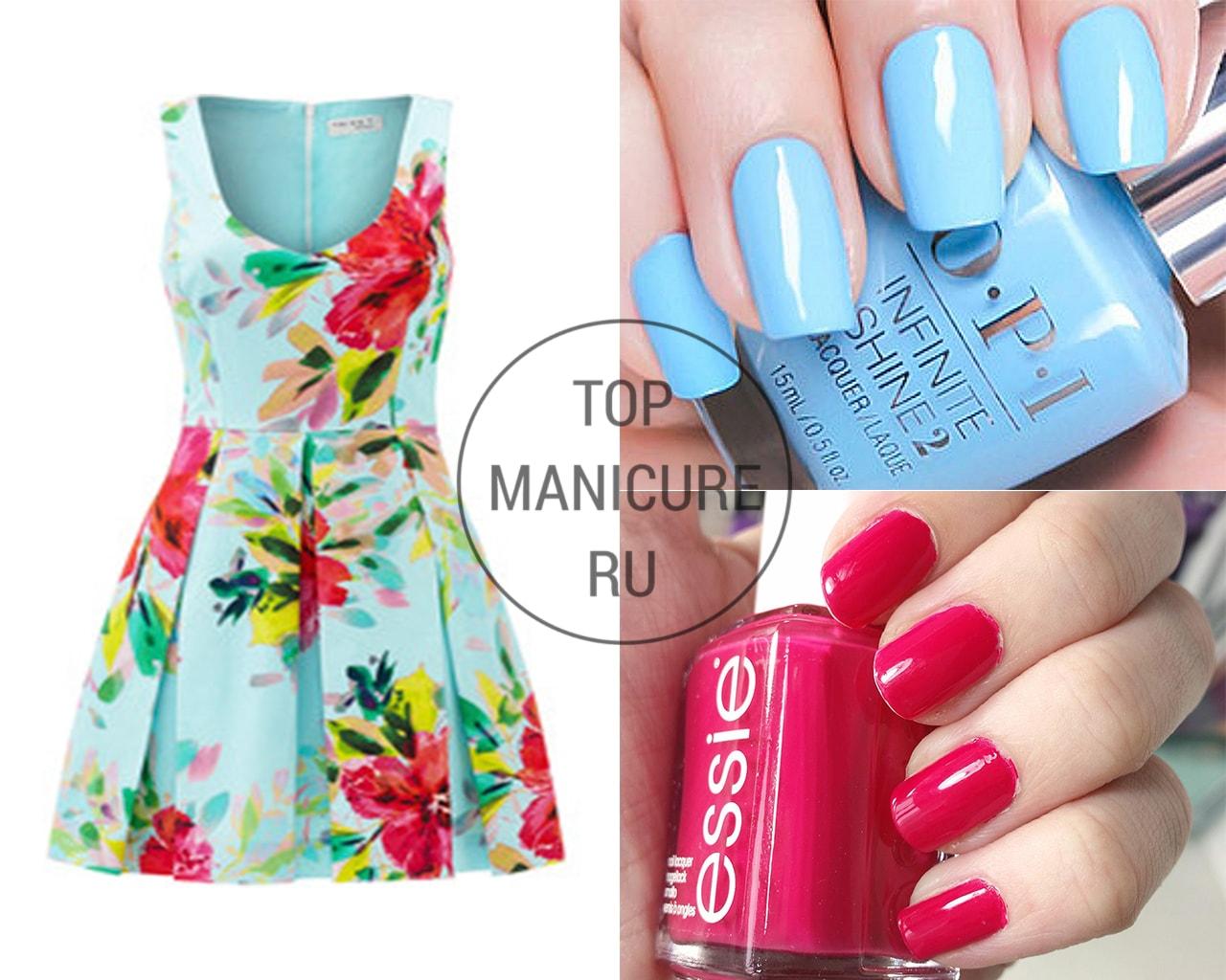 Маникюр под платье с цветами