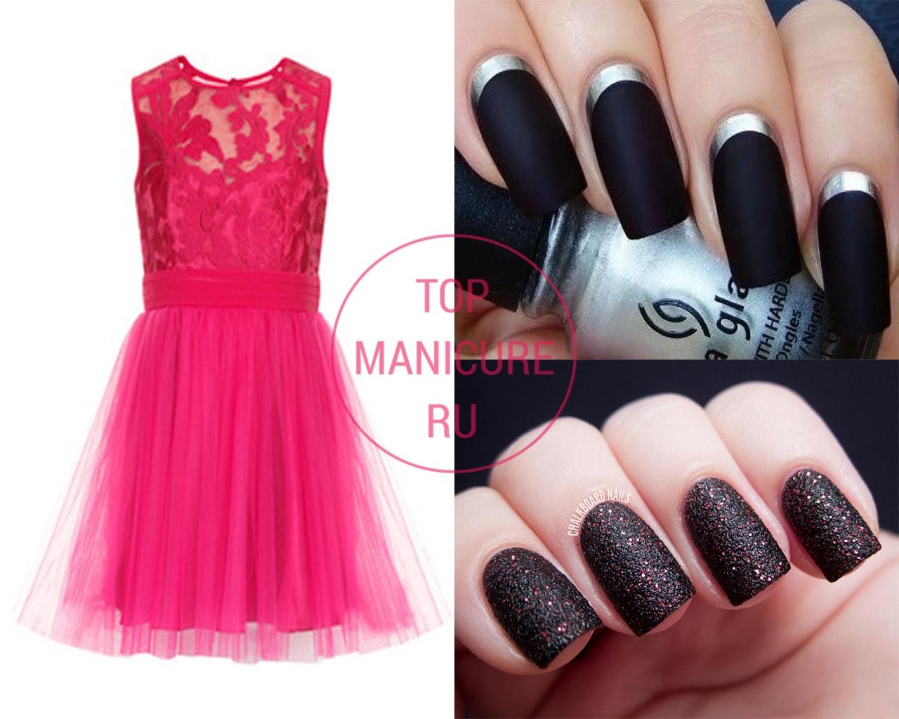 Черный маникюр под розовое платье