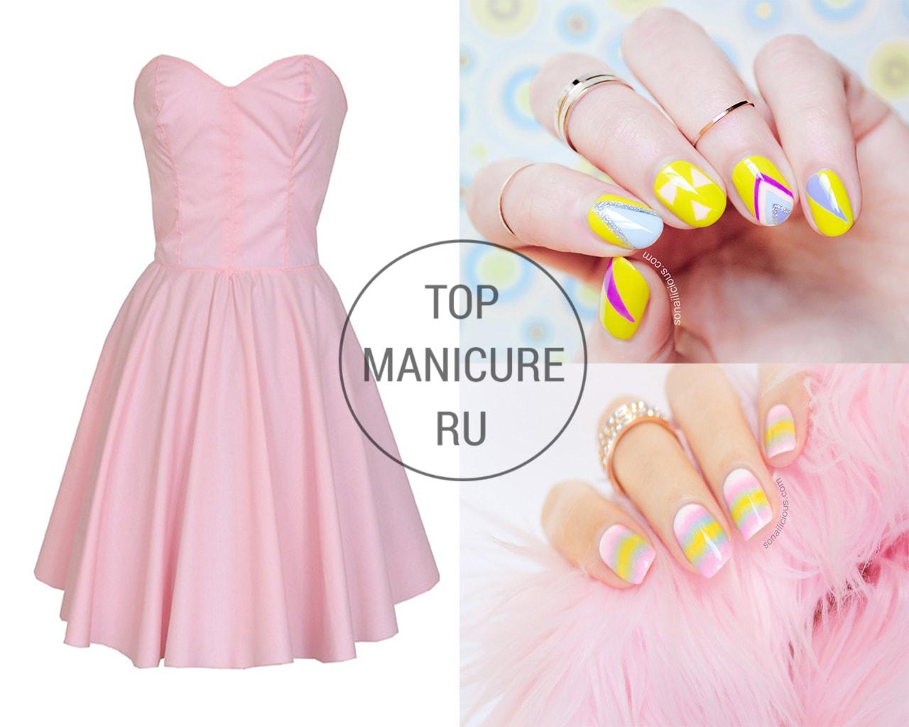 Маникюр под нежное розовое платье