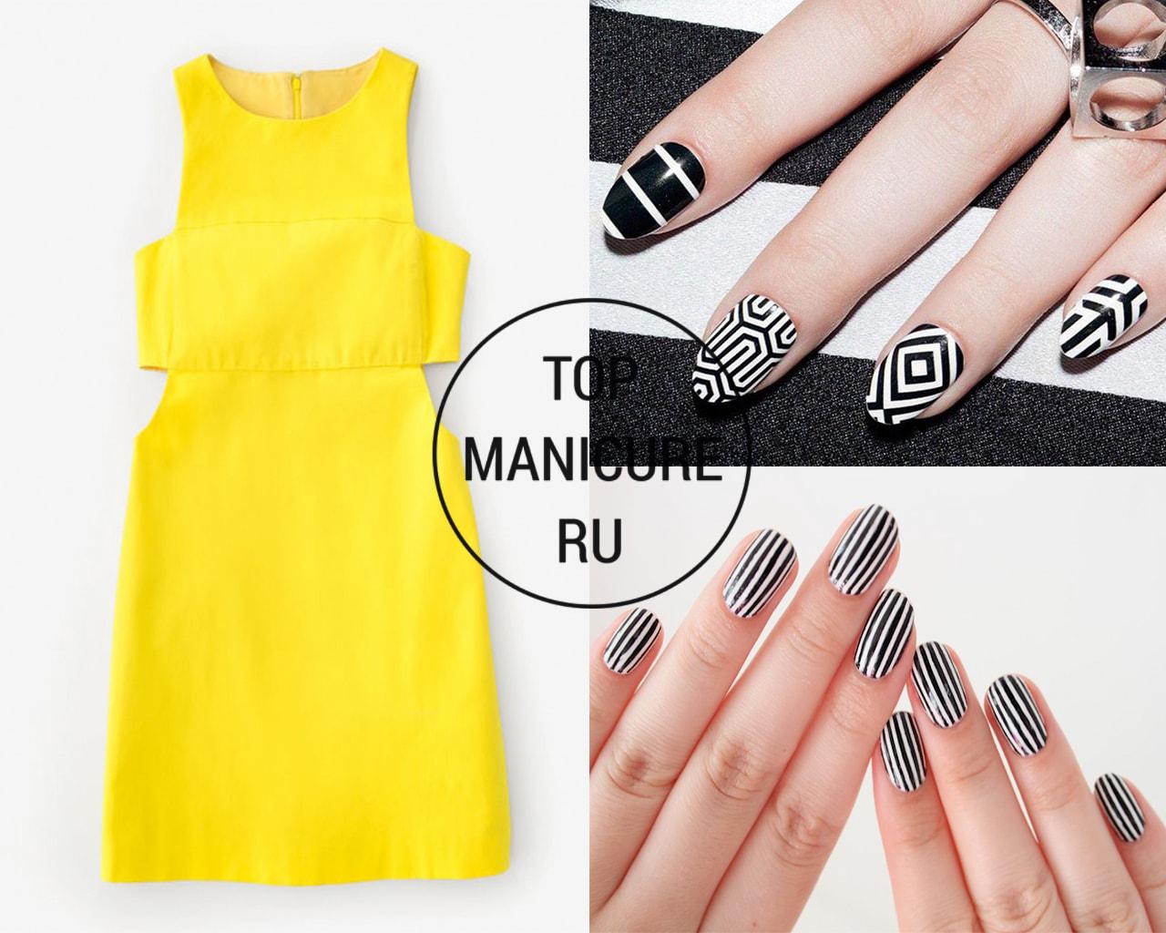 Маникюр под желтое платье